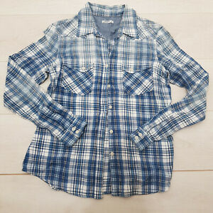 GAP Buttoned Shirt Top Size S Blue Plaid Stretch Collar Long Sleeve 100% Cotton