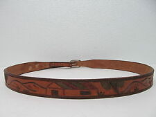"""HANDMADE"" GENUINE LEATHER COWBOY BELT SIGNPOST MEXICO COLOR BROWN  MENS SIZE 40"