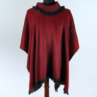 Lightweight BABY ALPACA Wool Fringed Collared Poncho Pullover UNISEX Handmade