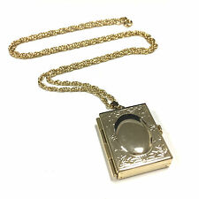 Gorgeous VTG Estate All Gold Tone Chain W LOCKET For 4 Pictures Necklace G475a