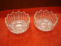 Vintage Set of Two Decorative Pressed Glass Candy Bowl Dish