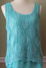 NYC Young Threads Mint Green Crocheted Top With Camisole Women's Medium