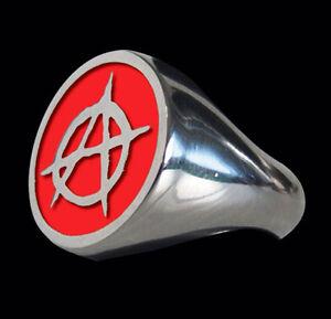 Stainless Anarchy Biker Ring Red Enamel Custom Size Rebel Free Spirit R-16ss