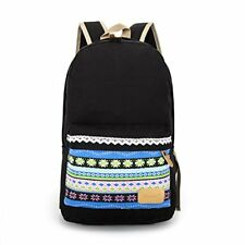 Canvas Vintage Print School Rucksacks Large Size - Black