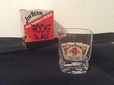 JIM BEAM Large Square Rocks Glass Poker Hand Orig box