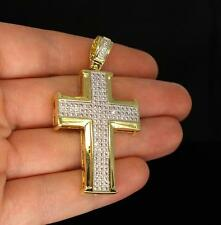 """1.75"""" Iced Out CZ Cross Pendant 14k Gold Finish Hip Hop Charm w/ 6mm Bail"""