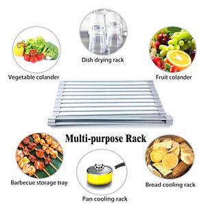 Rolling Silicone Dish Drying Rack Sink Draining Portable Dish Vegetable Rack