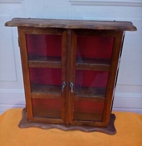 Antique Wooden Miniature Doll House cabinet dresser trinkets organize display