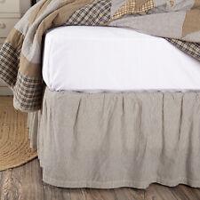 King Queen Twin Size Bed Skirt Dust Ruffle Cotton Blue White Stripe Farmhouse 16