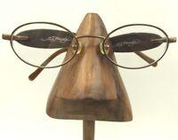Ed Hardy Gold Metal Brown Oval Devil Dice Eyeglasses Sunglasses Frames