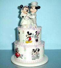 Lenox Disney Mickey Minnie's Wedding Day Wishes Atop Tiered Wedding Cake New