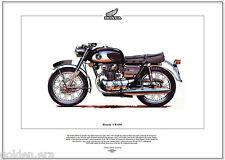 HONDA CB450 MOTO Stampa artistica - 180° dritto doppio DOHC NERO BOMBER Hellcat