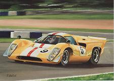 Lola  T70 MK3 B Chevrolet engine ? motor sport art card  du Mans Group C Racer
