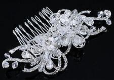 Alta Qualità Fiore cristallo scintillante Sposa Matrimonio PETTINE SLIDE T1658