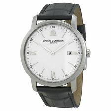 Baume and Mercier Classima Executives Silver Dial Leather Mens Watch MOA08485