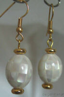 Vintage Style Mosaic Mother of Pearl MOP White French Hook Dangle Earrings