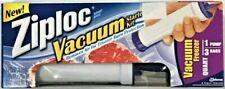 Ziplock Brand Vacuum Starter Kit 1 Hand Pump 3 Freezer Quart Bags NIB