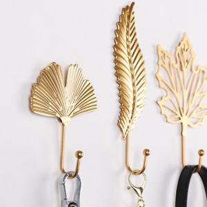 Gold Leaf Hook Coat Hat Key Hook Wall Hanging Kitchen Home Towel Hooks Decor