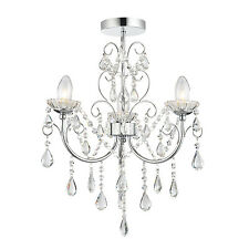 Endon Tabitha 3lt semi flush bathroom ceiling light IP44 18W crystal (k9) chrome