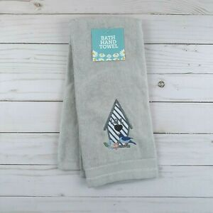 Guest Bath Hand Towel Birdhouse Bird Flowers Gray Terry Cloth