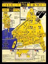MAPPA CAMERUN tedesco Togo Vintage Mappa NUOVO fine art print poster cc3210