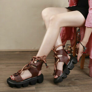 Women's Leather  Sandals Thick Bottom First Layer Cowhide New
