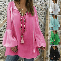 Women Plus Size Loose Blouse Long Sleeve V-neck Pullover Tops Shirt Tunic Blouse