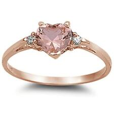 Rose Gold Plated Morganite Cubic Zirconia Heart .925 Sterling Silver Ring