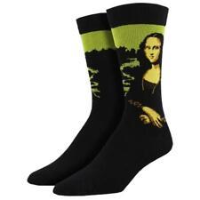 Socksmith Men's Black Bamboo Crew Socks Leonard Da Vinci Mona Lisa Portrait