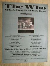 THE WHO - WHO'S BETTER - ORIGINAL MUSIC PRESS ADVERT 30 X 22 CM WALL ART