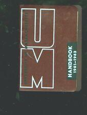 1961-62 University of Massachusetts 128-page small student's handbook