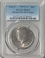 New Listing1990-P Kennedy 50c Struck 5% Off Center Mint Error Pcgs Ms-64