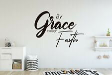 By Grace Through Faith Sticker Vinyl Decal Wall Lettering Custom Colors Ms43
