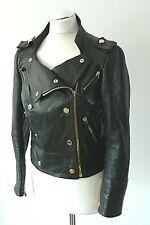 Gucci Women's Black Moto Biker Leather Crop Jacket Silk Lining Gold Tone UK 10