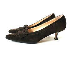 NWOB Manolo Blahnik Heels Pumps Womens 37.5 7.5 Brown Suede Leather Shoes Loafer