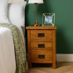 Baysdale Rustic Oak 3 Drawer Bedside Cabinet / Bedroom Lamp Table / Nightstand