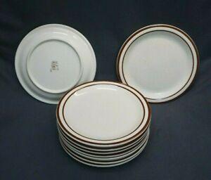 "++ REGO ER 760-21 Heavy Duty Restaurant Quality 9"" Plates - Brown Striped ++"