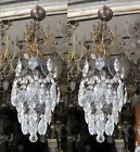 A Pair Antique French Cage Crystal Chandelier Lamp Lustre Luster 1940's