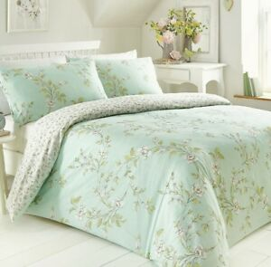 FLORAL VALE DUCK EGG GREEN REVERSIBLE DUVET COVER SET CHOICE DOUBLE OR KING SIZE