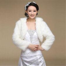 New Ivory/Black/white Faux Fur Wrap Shrug Bolero Coat Bridal Shawl Accessories j