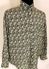 BRUNO DESIGNED IN ITALY MENS Sz L SAGE/WHITE QUALITY SMOOTH WEAR CASUAL SHIRT