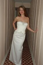 Strapless Embroidered Beaded Corset White Satin Sheath Prom Or Wedding Dress S 4