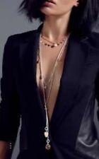 Bibi Bijoux grey & rose gold & swarovski suede layered necklace BNWT in gift bag