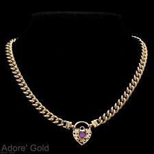 18K Yellow Gold GL Womens Solid Med Euro Curb Necklace & Amethyst Heart 45cm