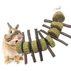 Rabbit Hamster Teeth  Wood Stick Grass Hay Cake Heart Chew Toy Reliable