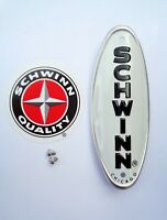 Genuine Schwinn Approved Bicycle Head Badge/Name Plate * WHITE w/ BLACK LETTERS