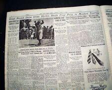 THE MASTERS TOURNAMENT Horton Smith Wins Golf Major at Augusta GA 1936 Newspaper
