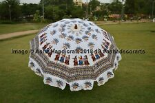 Indian Hippie Ethnic White Hand Block Tribal Lady Print Garden umbrella Parasols