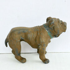"English Bulldog Cast Lead Dog Figurine 4.5"" Painted Brown 1930's Vintage"