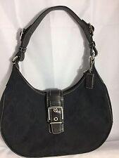Coach Soho Signature Jacquard Flap Purse Medium Handbag Shoulder Bag Black VNTG